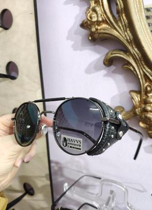 Стильные солнцезащитные круглые очки тишейды с боковой шорой havvs polarized