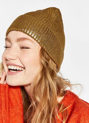 Новая шапка металлик золотая италия металік made in italy