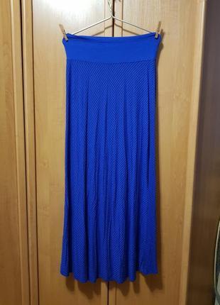 Платье-юбка, синее платье без рукавов, длинная большая легкая юбка