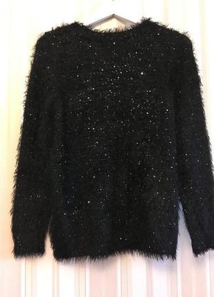 Черный мерцающий свитер/новый /джемпер новый m-l-xl-xxl