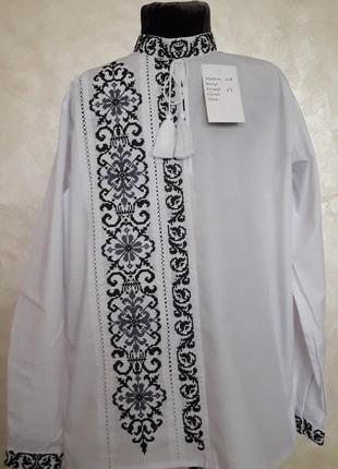 Ексклюзивна вишиванка для маленького модника(сіро-чорна вишивка)на сорочковій тканині2 фото