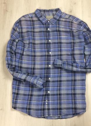Z7 приталенная рубашка льняная tu лен клетчатая в клетку