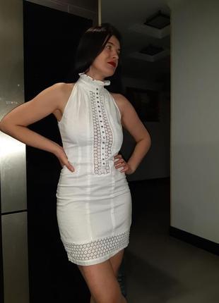 Платье catherine malandrino белое натуральная ткань красивое