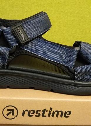 Босоножки сандалии спортивные на липучках мужские restime mml20223 чёрные,коричневые,синие