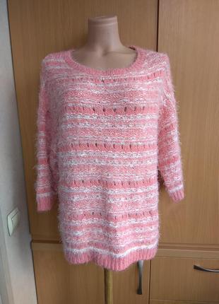 Мягкий свитер джемпер полувер травка розовый