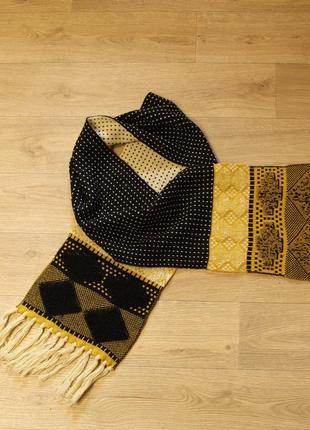 Крутой длинный объемный шарф желтый акцент promod