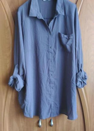 Шифоновая серая блузка george, размер 22