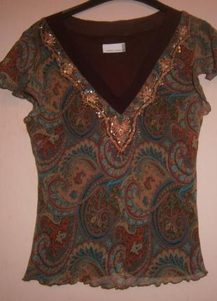 Блуза шелковая с золотой вышивкой 44-46 размер фирменная