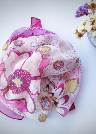 Невесомый шарфик шейный платок 100% шелк розовый молочный цветочный принт