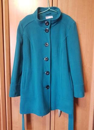Шерстяное пальто, новое пальто, бирюзовое, цвета морской волны, большое пальто, xl, тренч