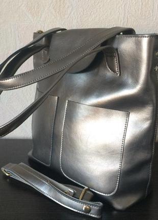ce1b650ea097 Сумка натуральная кожа вместительная серебро, цена - 1415 грн ...