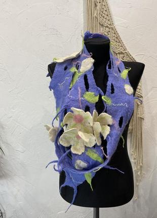 Шарф валяный фиолетового цвета с цветами! хустка, платок
