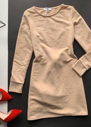 👗классное бежевое платье миди/нюдовое спортивное платье/тёплое платье длинный рукав👗