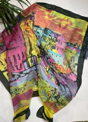 Яркий разноцветный платок troll! шарф, хустка