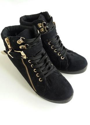 Ботильйоны демисезонные 38р , ботинки замша осенняя обувь кеды кроссовки на платформе