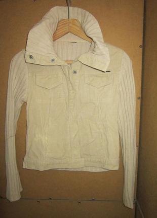 Куртка песочного цвета с вельветом жакет пиджак