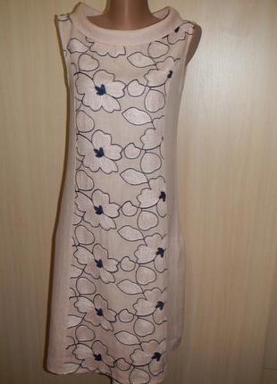 Льняное платье с вышивкой p.s италия