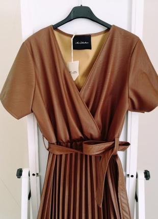 Платье экокожа беж. италия🇮🇹