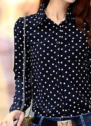 Блуза в горошек , рубашка в горошек