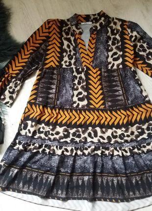 Короткое расклешенное платье 8-10р