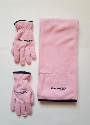 Стильный спортивный набор шарф + перчатки reebok, флисовый шарф,флисовые перчатки
