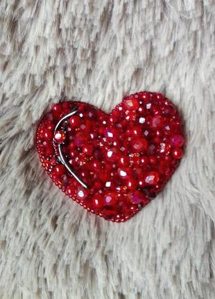 Брошь сердце красное #розвантажуюсь