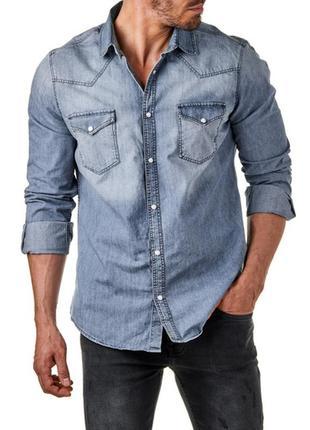 Мужская джинсовая рубашка 48-50 sublevel