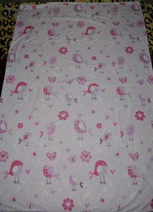 Обалденная качественная полуторная постель пододеяльник оригинал бледно розовый птички