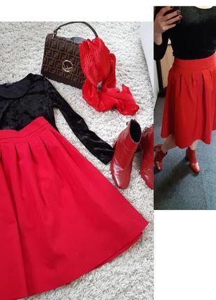 Оригинальная стильная красная юбка миди, orsay, p. 38-40