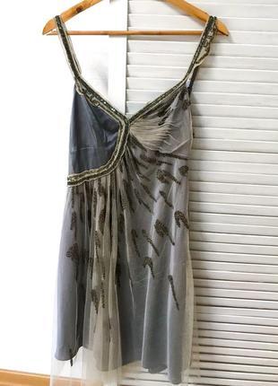 Нереально красивое платье #karenmillen, с вставками кружева и бисера размер s