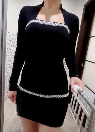 Туника черное мини-платье демисезон зимнее теплое сваровски стильное