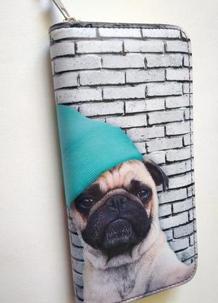 Новый бумажник модный длинный большой кошелек на молнии с мопсом мопс бульдог в шапке