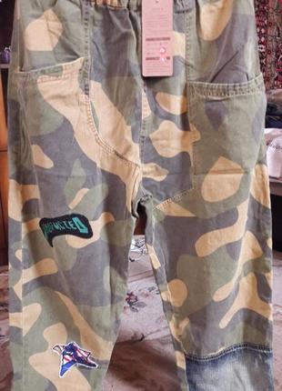 Джинсы джоггеры военная расцветка хакки