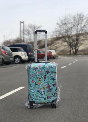 Принтованый чемодан из поликарбоната для ручной клади/валіза для ручної поклажі