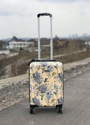 Принтованый чемодан из поликарбоната с расширителем для ручной клади/валіза ручна