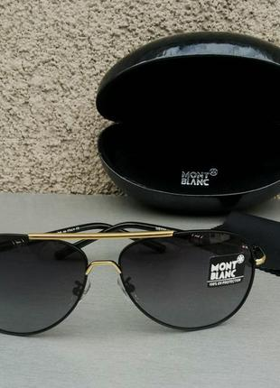 Montblanc очки капли мужские солнцезащитные черные с золотом поляризированые