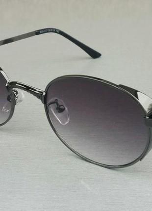 Очки солнцезащитные унисекс овальные в серой металлической оправе