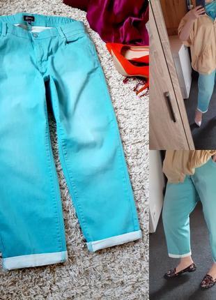 Мега шикарные стильные джинсы бойфренд/цвет мяты,grandiosa, p. 48-50