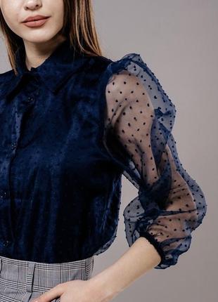 Блуза з прозорим рукавом 160103 фото
