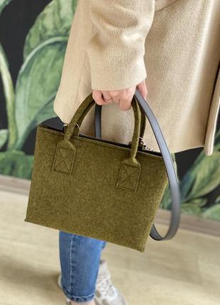 Зеленая войлочная сумка
