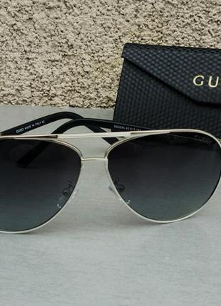 Gucci очки капли мужские солнцезащитные серые в металлической оправе