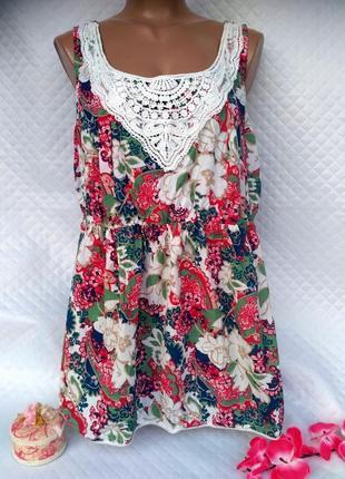 Яркая блуза с кружевом george 20 размер 100%хлопок