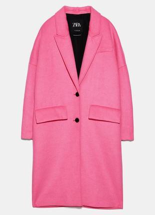 Пальто оверсайз яркого розового цвета