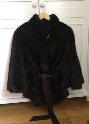 Супер модная для деловых женщин шуба-пончо из канадской норки (фасон летучая мышь - поперечка)