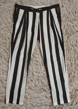 Полосатые чёрно-белые штаны брюки бананы в полоску на пуговках #розвантажуюсь