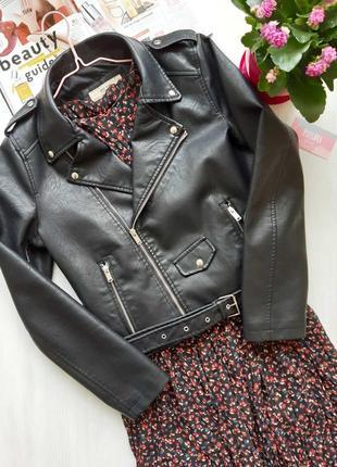 Куртка косуха из экокожи с ремнем черная косуха жіноча косуха чорна куртка косуха5 фото