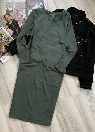 Трикотажное миди платье хаки
