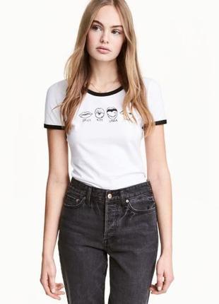 Милая котоновая футболочка с прикольным принтом фирмы h&m