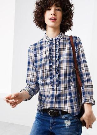 Рубашка темно-синяя в клетку тсм tchibo германия, 42 евро