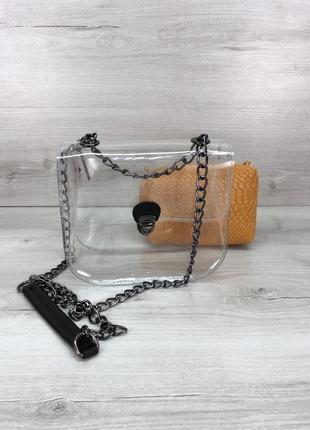 Маленькая силиконовая сумочка 2в1 с косметичкой горчичная рептилия никель